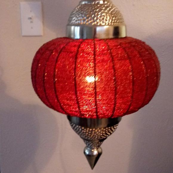 2 beautiful moracan beaded hanging lamps